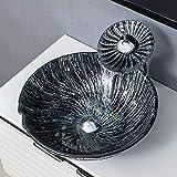 LHTCZZB Mischbatterie Modernes gehärtetes Glas Schiff Vanity Sink 16.53' runde Form über Gegen...