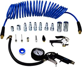 YOTOO Heavy Duty Air Compressor Accessories Kit 19 Pieces with 1/4 inch x 25 feet Polyurethane Air Compressor Hose, 100 PSI Tire Inflator Gauge, Air Blow Gun and Air Hose Fittings