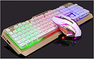 ZHHk Mechanical Hand Keyboard And Mouse Set Notebook Desktop Cable Game Keyboard keyboard (Color : Gold)