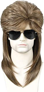 blusea WIG-M04 High-temperature Synthetic Fiber Wigs Heat Resistant Long Hairpiece Metal Rocker Disco Hair Wig for Men Cos...