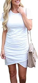 ea0ddb3f785b BTFBM Women s 2019 Casual Crew Neck Ruched Stretchy Bodycon T Shirt Short  Mini Dress