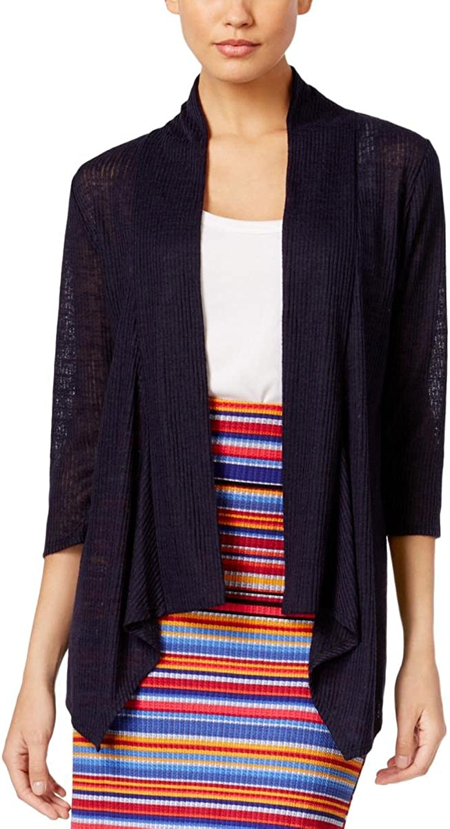 NY Collection Womens Ranking TOP10 Ribbed Super-cheap Medium Blue Cardigan Sweater