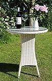 Dreams4Home Beistelltisch 'Camden', Gartentisch, Tisch, Terrassentisch, Glastisch, Rundtisch, (B/H) ca.60 x 75 cm, Garten, in weiß