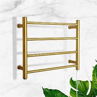 XSGDMN Electric Heated Towel Rack, 304 Stainless Steel Heated Towel Rail Radiator Luxury Wall-Mounted Electric Towel Rack with 4 Bars, for Bathroom, Gold,Plugin