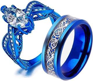 حلقتان للزوجين والخواتم مجموعة عرائسها النساء الأزرق الذهب مطلي Cz رجل الفولاذ المقاوم للصدأ خاتم الزفاف الفرقة مجموعة