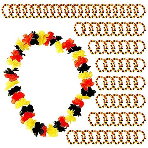 Set di 72 collane per fan dei mondiali mondiali di calcio EM, 72 fiori da 50 cm, colore nero rosso e oro (72 x catena a fiori da 50 cm Germania)