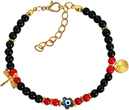 Evil Eye Protection Star Amulet Black Royal Red Accents Dragonfly Magic Power Symbol Lucky Charm Bracelet