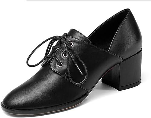 Shiney Chaussures pour Femmes en Cuir Nouveau Talon Chunky Tête Ronde Chaussures Simples Sangle Avant Talons Hauts