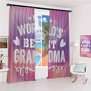 GUUVOR Grandma Sunshade Sunscreen Curtain Stars and Heart Silhouettes with Swirled Lines Pattern on Bokeh Background Soundproof Shade W42 x L84 Inch Purple Coral White