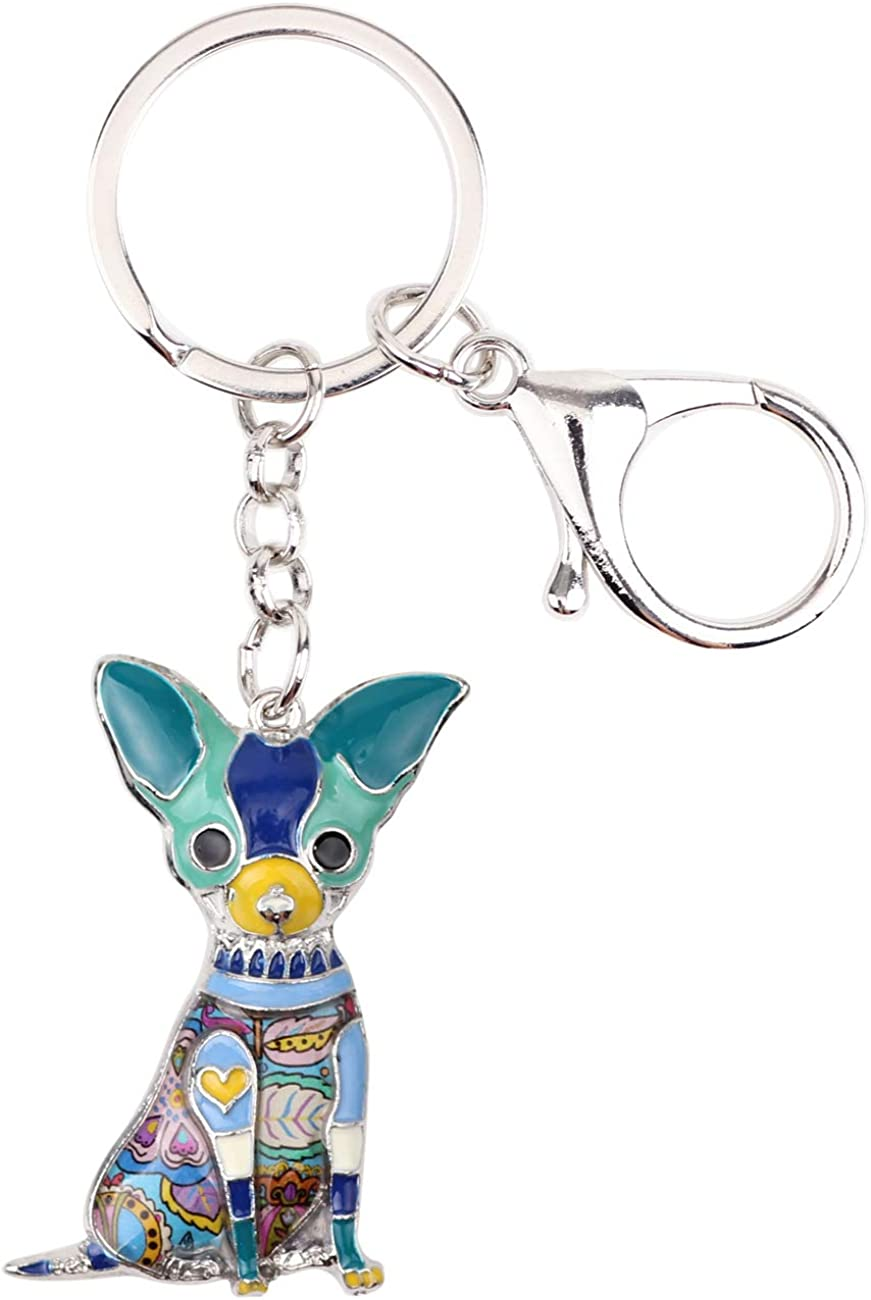 DUOWEI Dainty Enamel Chihuahua Dog Keychain Zinc Alloy Pets Keyring Charm Gifts for Women Girls Lobster Clasp