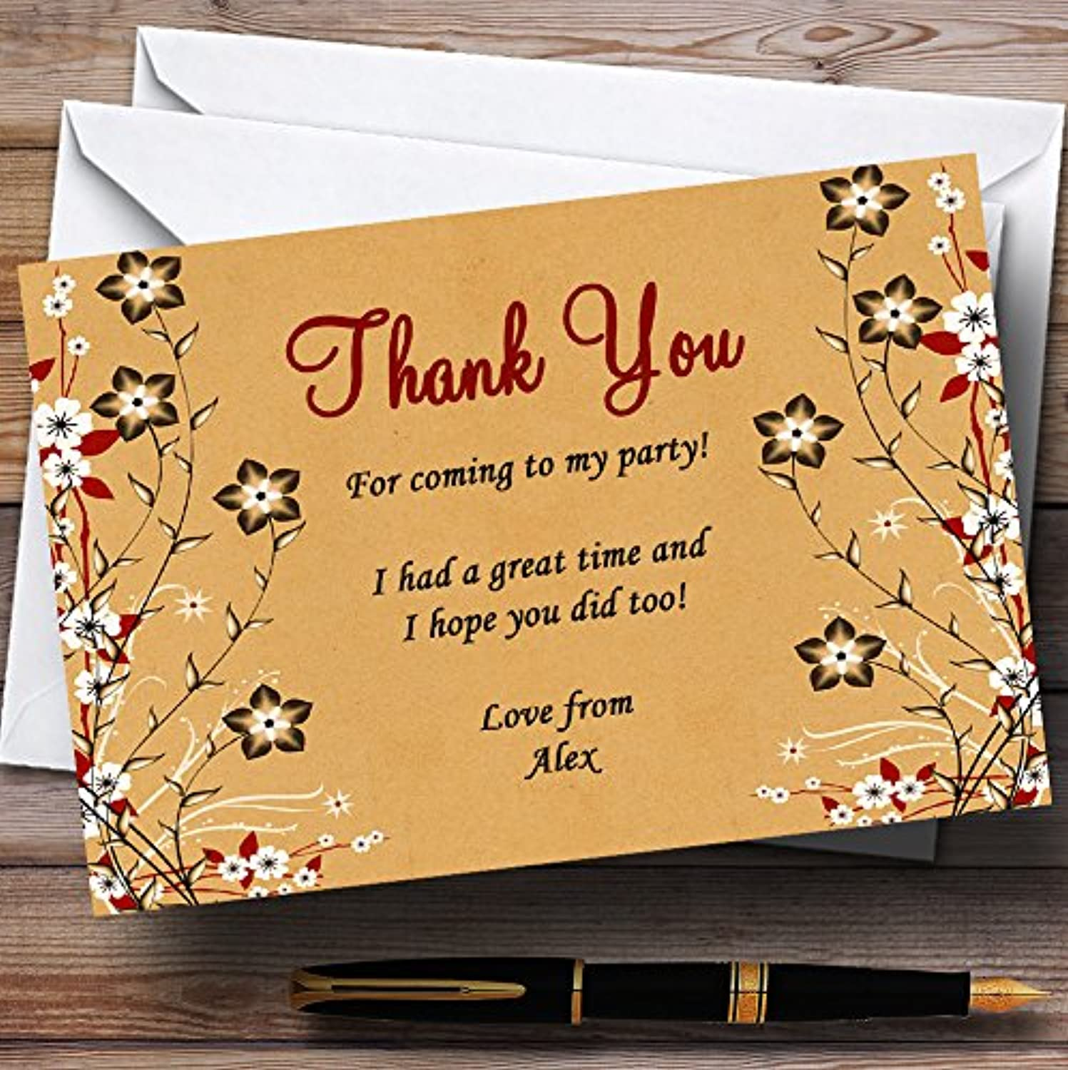 Vintage Flowers & Leaves Garden Tea Personalised Party Thank You Cards