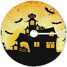 "Naanle Halloween Haunted House Pumpkin Christmas Tree Skirt 35"" Tree Skirt Christmas Tree Decoration Blanket Xmas Tree Mat..."