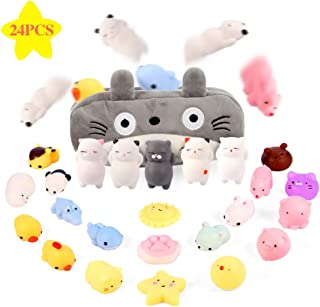 Gooidea Mochi Squishy Toys 24pcs Mini Squishies Toy Gifts for Teen Girls and Boys Kawaii Animals Squishies Cat Panda Squeeze Toys Set with Cartoon Bag Holiday Toy Gift for Kids