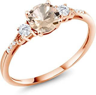 10K Rose Gold Peach Morganite and White Created Sapphire Women's Engagement Ring 0.74 Ctw Round Available in (Available 5,6,7,8,9)