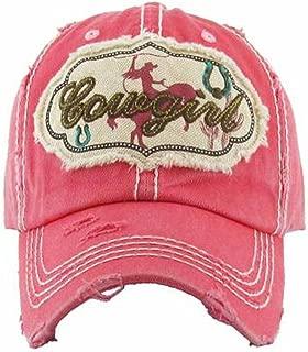 Kbethos Trading Women's Cowgirl Distressed Vintage Baseball Hat (Pink)
