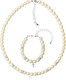 Cream Czech Glass Pearls with Silver Filled Cross Keepsake Bracelet and Necklace Gift Set (GSN29)
