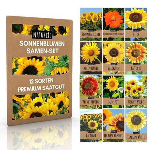 12er Sonnenblumen Samen Set - 12 schöne Sorten Premium Sonnenblumensamen - Blumen Saatgut für Bienen - super Garten Geschenk - Blumensamen Sommerblumen Anzuchtset von Naturlie