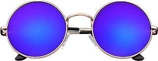 Emblem Eyewear - Premium Redondo Círculo De Espejo Completo Espejo Metal Gafas De Sol