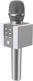 TOSING 008 Micrófono de Karaoke Inalámbrico Bluetooth, Potencia de Volumen Más Alta 10W, Más Bajo, 3-en-1 Máquina de Micrófono Portátil de Altavoz Portátil para iPhone/Android/iPad/PC (sliver)