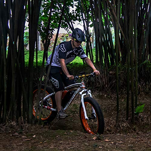 RICH BIT 26 Inch Fat Tire Electric Bike 48V 1000W Motor Snow Electric Bicycle with Shimano 21 Speed Mountain Electric Bicycle Pedal Assistance Lithium Battery Hydraulic Dual Disc Brake