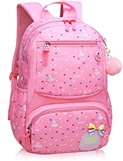 School Bag Girl Elementary School Bag 1-3-6 Grade Children's School Bag Korean Version of The Floral Light and Light Burden Waterproof (Small, Pink)