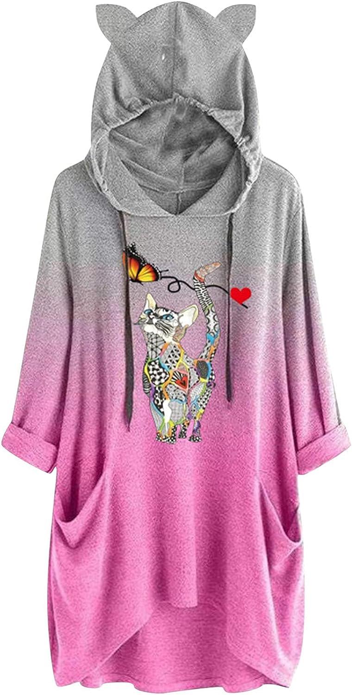 Women's Long Sleeves Gradient Color New Lowest price challenge popularity Block Cat Cute Tops E Hoodie
