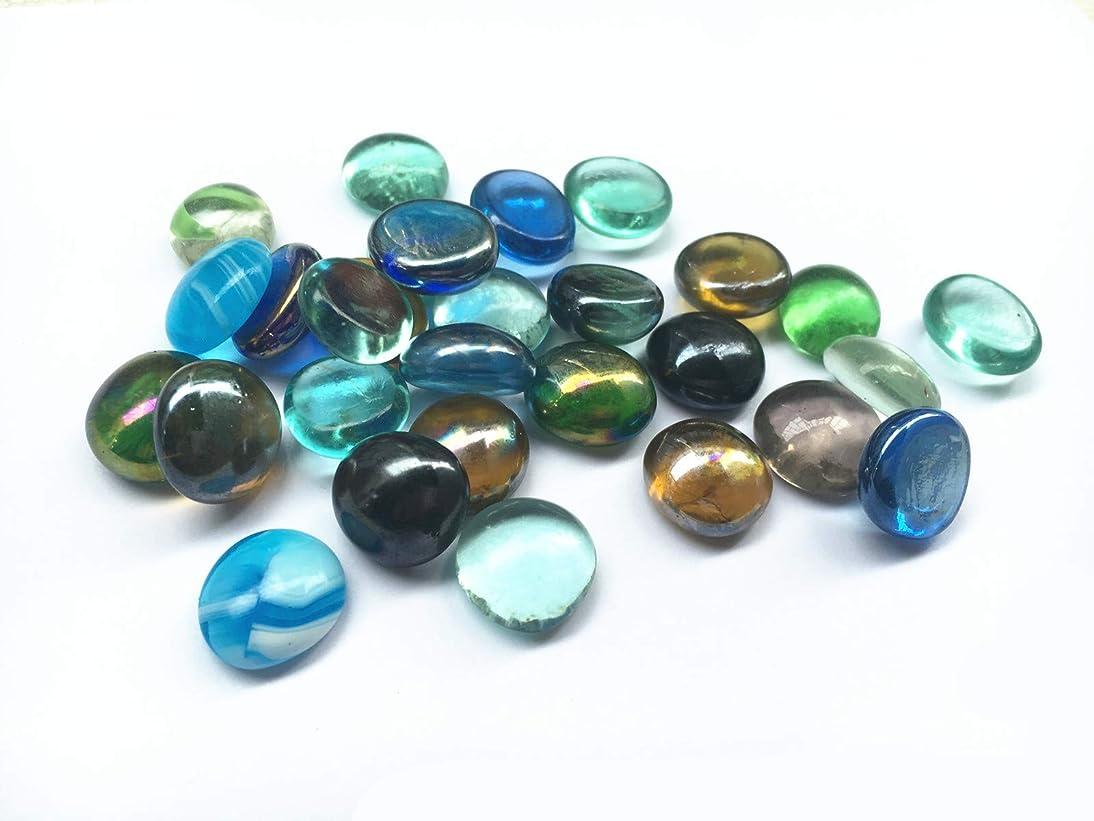 Briliant Shop Flat Pebbles Marbles, 1Lbs Glass Gems Stone for Vase Fillers, Wedding Table Scatter, Aquarium Fillers Decor, Party Decoration, Crystal Rocks (Approx 100 pcs) (Multi)