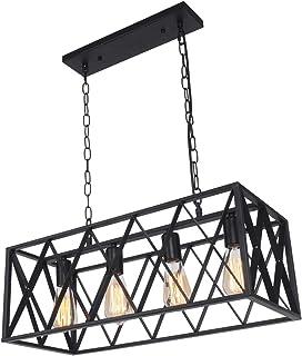 SGLfarmty Rectangular Vintage Rustic 4-Light Hanging...