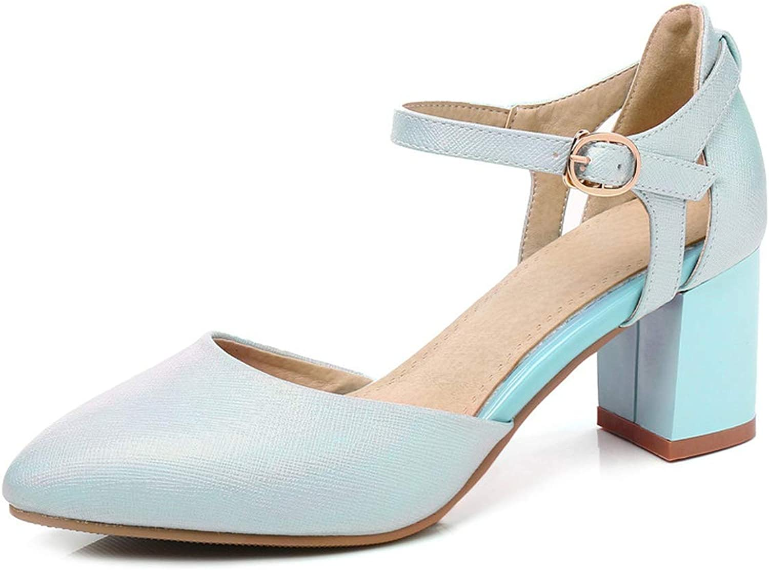Pumps Women shoes Pointed Toe Summer shoes Simple Buckle Comfortable Square Heels shoes Woman,Sky bluee,9