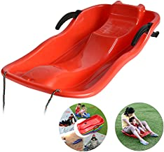 Sand Snow Sleds for Kids and Adult,2-Person Toboggan with Brakes and Anti-Slip Foot Panels Baby Pull Sled Sand Grass Skiing Snowboard Boat Sleigh (Color may vary)