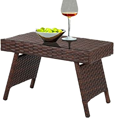 BS Brown Resin Wicker Folding End Table Outdoor Pool Patio Furniture Side Table Weather-Resistant Rattan Sofa Side Table Easy Storage Garden Outdoor Furniture
