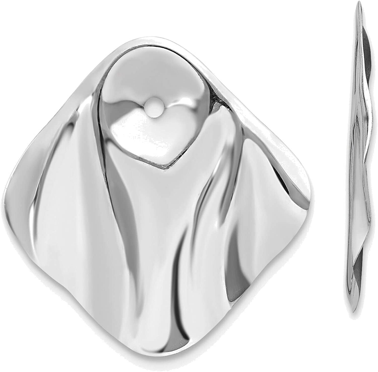 14kt White Gold Polished Hammered Square Earring Jackets