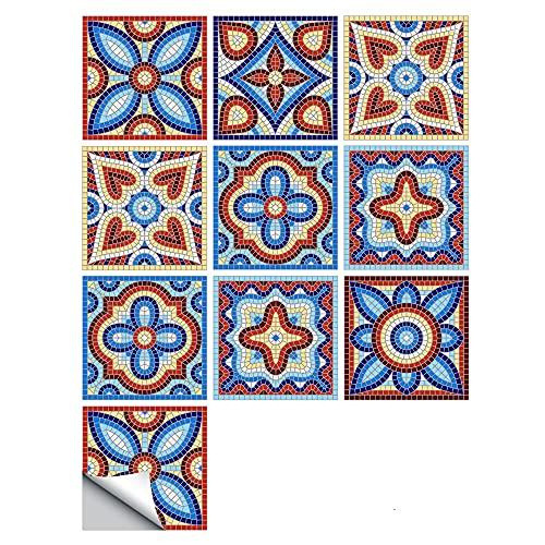 Fawyhr 10 unids/set Mosaic Floral Ornament Pegatinas de Pared Arabesca, Cocina Lavabo Decoración Cerámica Dura Calcomanías de Pared Art Mural Azulejos autoadhesivos Hermosa Casa