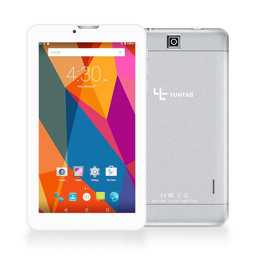 Yuntab E706 Tablette 3g matériau en Alliage HD IPS écran Tactile 7 Pouces Android 6.0(1,3 GHz) Quad Core MT8321 Cortex-A7 8Go Support WiFi Jeux, Google Play Store, Youtube, Jeux-argenté