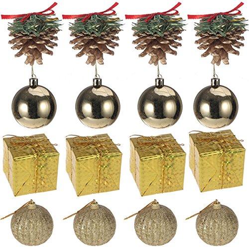 16 piezas de mini bolas de brillo de colores, piñas, cajas de regalo, adornos para árboles de Navidad, decoración colgante, colgante, decoración navideña para fiestas en casa (dorado)