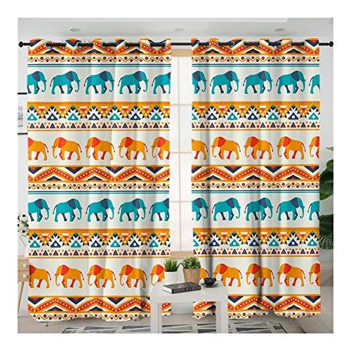 W-L Cortina Opaca Elefante Siluetas Cortina De La Cocina Animal Retro Cortina Dormitorio Hippie Geometría Cortina del Apagón (Size : W100xH270cmx1 Piece)
