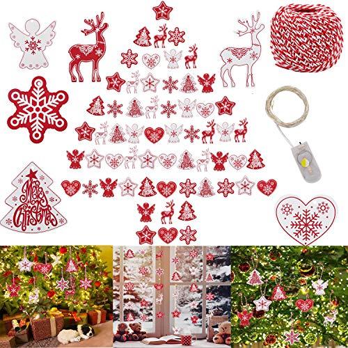 Addobbi per Albero di Natale,JUSTDOLIFE 60 Pezzi Natale Appeso Ornamento 12 Stili Natale Appeso Ornamento Decorazioni Natalizie in Legno Addobbi Legno Decorazione Appesa