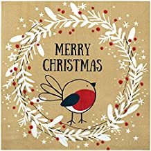 Christmas Napkins Paper Cute, Festive Wreath & Bird Print/Brown Recycled Napkins Decorative Disposable Holiday Dinner, Lunch/Luncheon, Buffet Brunch Rustic Xmas Party Decor