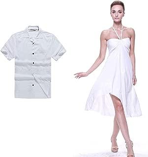 Couple Matching Hawaiian Luau Party Outfit Set Shirt Dress in Wedding White