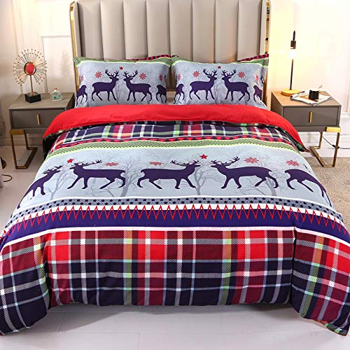 Qucover Duvet Cover Set Merry Christmas 3D Forest Deer Christmas Colorful Grid...