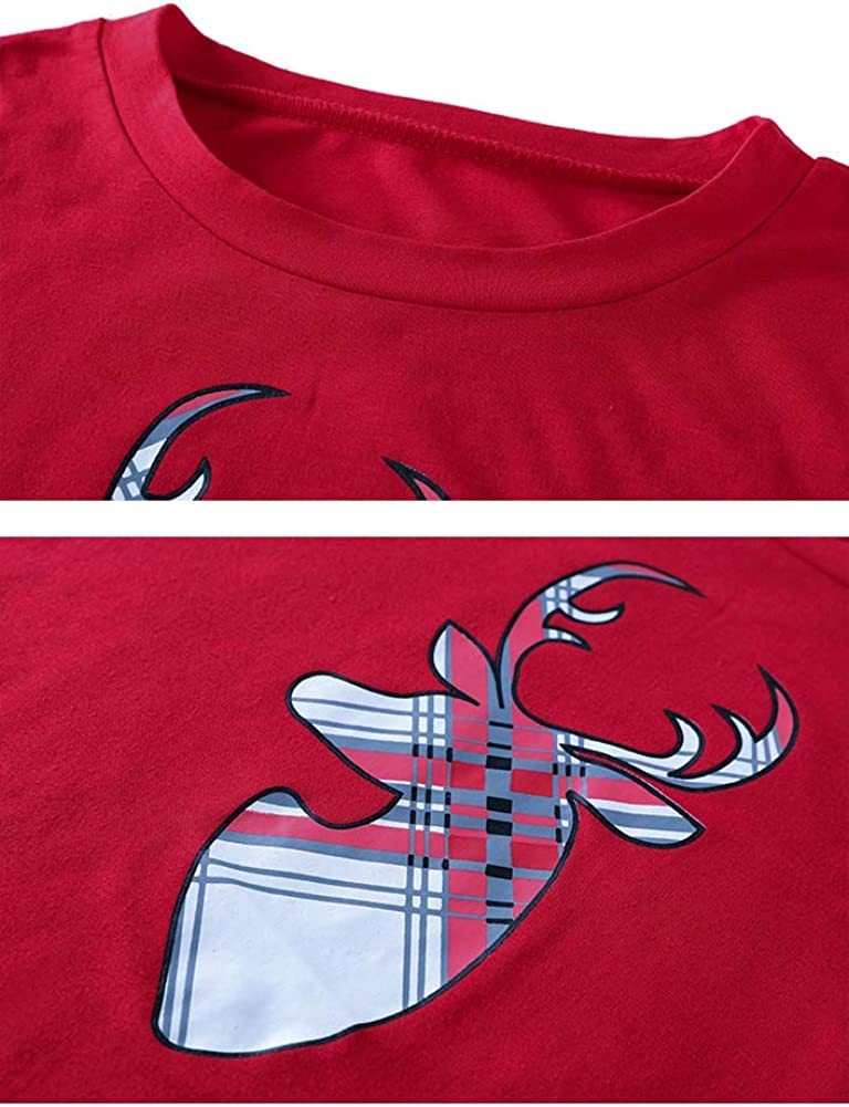 Durcoo Family Matching Christmas Pajamas Sets Reindeer Santa Claus Sleepwear