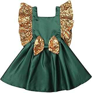 Toddler Baby Girl Party Tutu Dress Gold Sequin Ruffles Sleeve Princess Dress Bowkont Backless Vintage Wedding Dress