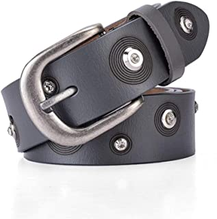 SGJFZD New Trend Ladies Belt Leather Rivet Casual Business Alloy Fashionable Buckle Belt Fashion Wild Outdoor Tide (Color : Grey, Size : 110cm)