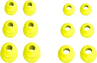 12pcs (DF-3sz) Neon Yellow S/M/L Double Flange and Round Replacement Adapters Earbuds Eartips Compatible with BeatsX, Powe...