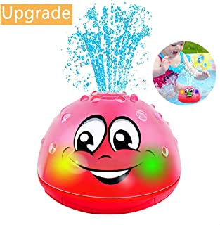 qingbao Bath Toys Children's Bath Toys with Music & Lamp Electric Automatic Induction Water Spray Bath Toy (Pink Without Base)