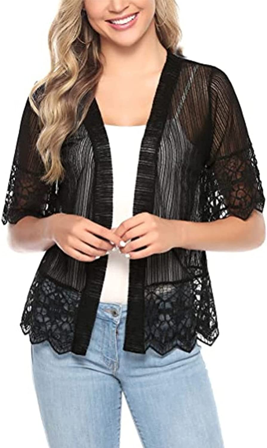 Women Casual Lace Sheer Shrug Crochet Cardigans Half Sleeve Open Front Cover Up Stripe Jacket Sweater
