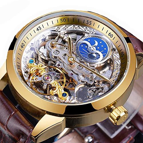 Excellent Herren Uhren Herren Analog Chronograph Quarz mit Lederarmband Skelett Wasserdicht Geschäftliche Freizeit,Gold