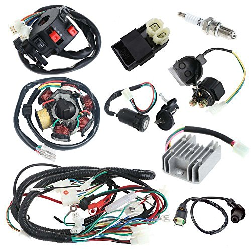 JIKAN Annpee Complete Electrics Wiring Harness Wire Loom Magneto Stator for GY6 4-Stroke Engine Type 125CC 150CC Pit Bike Scooter ATV Quad