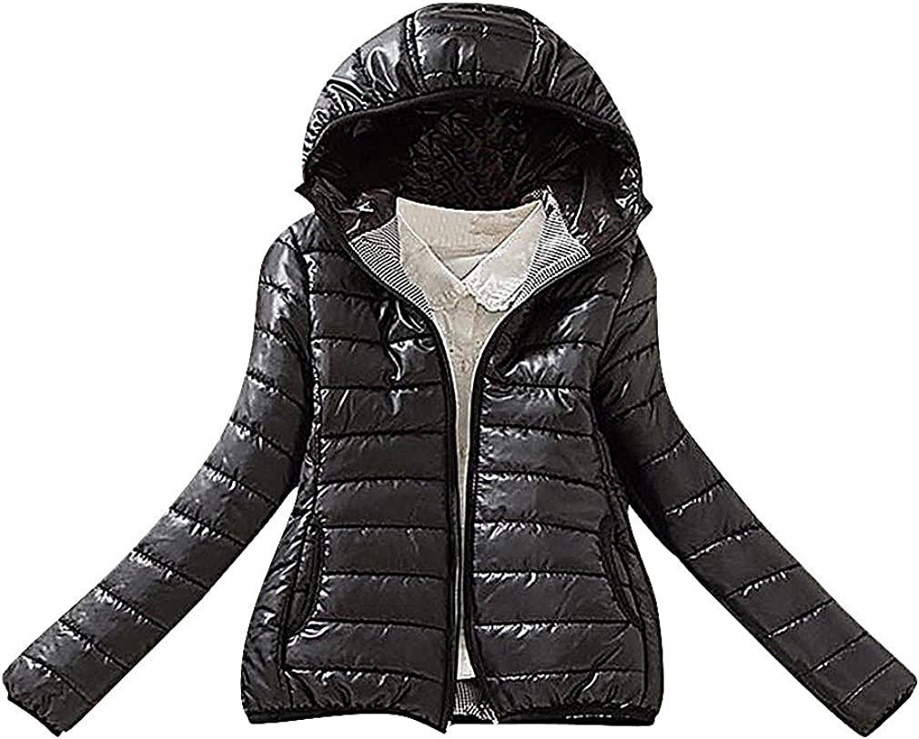 US&R Women Solid Color Quilted 2 Pocket Slim Zipped Warm Mini Winter Jacket
