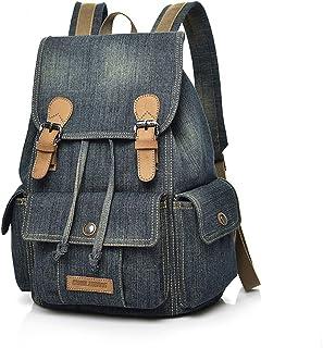Mochila de lona, mochila escolar de tela vaquera para